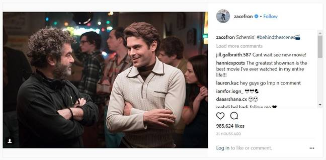 Here's Zac's latest snap as Ted Bundy. Credit Zac Efron on Instagram