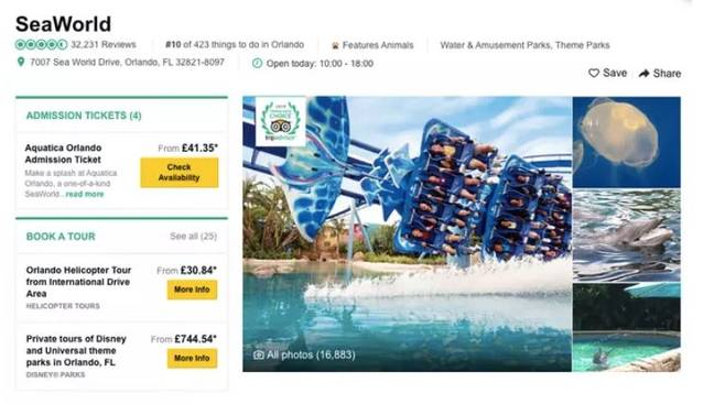 You can still currently search for SeaWorld deals on the site. Credit: TripAdvisor