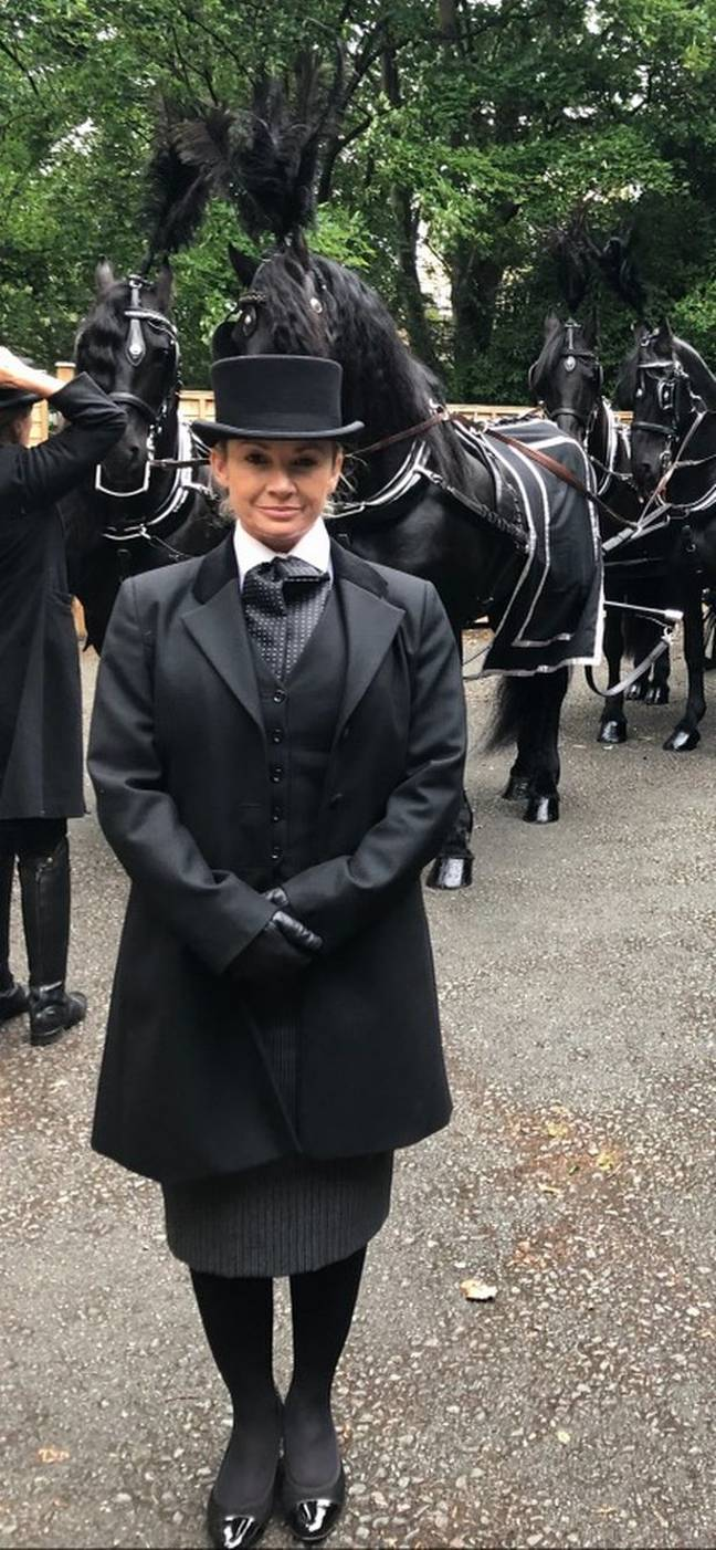 Robyn dressed for her job as a funeral director. Credit: Robyn Morrison