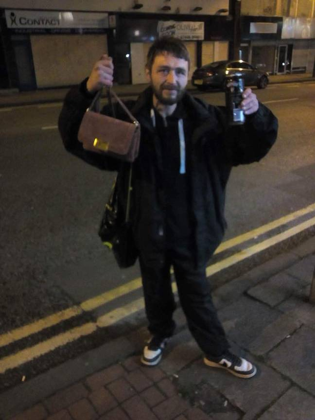 Paul with the handbag