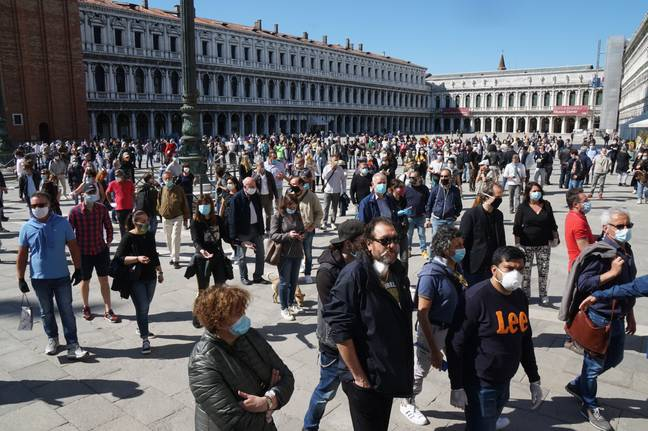Shopkeepers gathered in St. Marks's square today (4 May) to petition for the reopening of stores. Credit: MARCO SABADIN/AFP via Getty Images