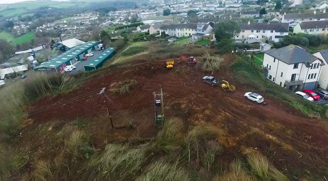 Locals sent a drone up to see if there was any activity on the site. Credit: SWNS