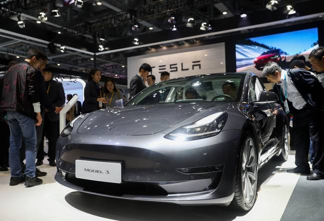 Tesla's cars in China. Credit: PA