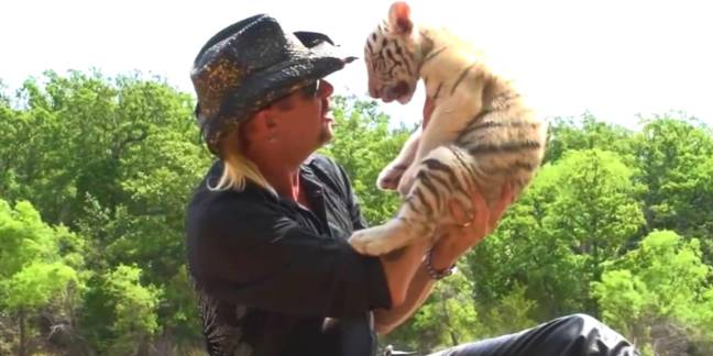 Joe and his (adorable) tiger cub. Credit: Netflix