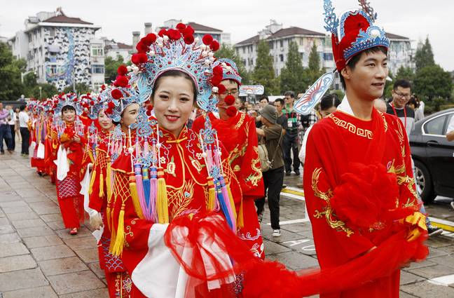 This is what a traditional Chinese wedding looks like in Shanghai. Credit: PA