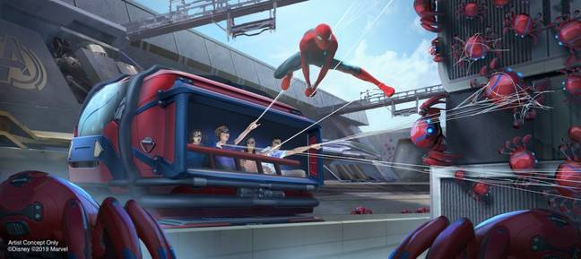 Guests will get to fling webs about like Spidey. Credit: Disney/Marvel