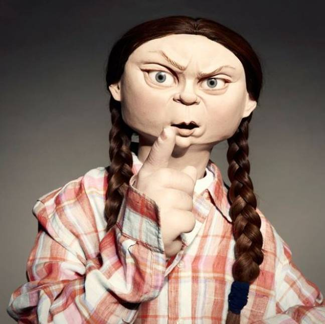 TV bosses have defended the caricature of Greta Thunberg. Credit: BritBox
