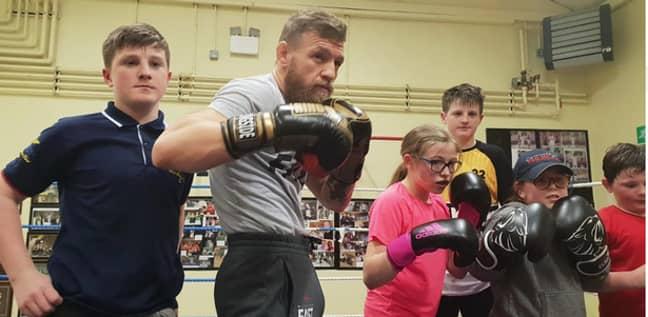 Conor McGregor at the boxing club. Credit: Crumlin Boxing Club/Facebook