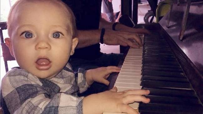 Isla, now 18 months, enjoying playing on her dad's keyboard. Credit: Kennedy News and Media