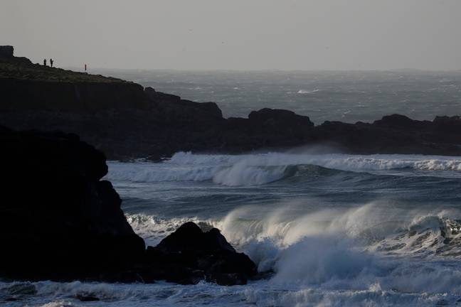 Storm Dennis pounding the coast of St Ives, Cornwall on Sunday (16 February). Credit: PA