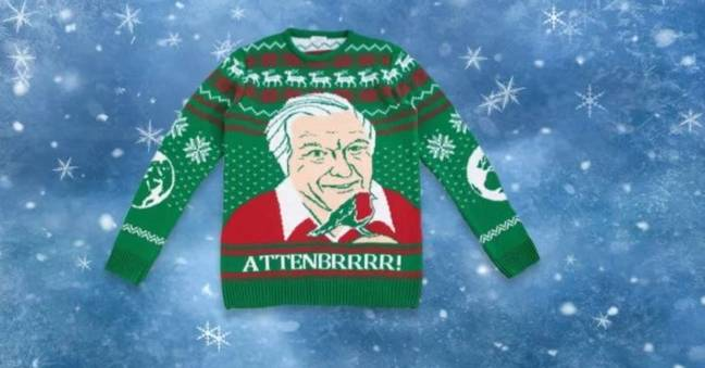 David Attenborough Christmas jumpers are here. Credit: Notjust