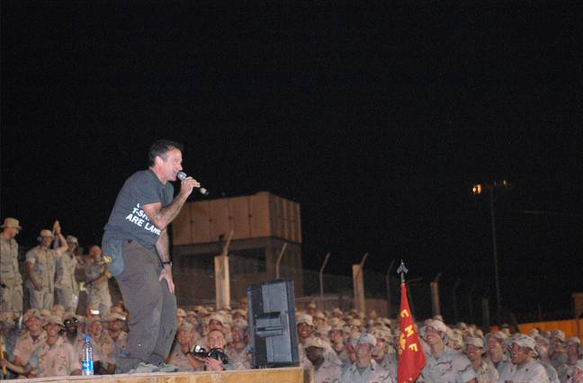 Robin Williams entertaining US soldiers in a Djibouti-based camp in 2003. Credit: PA
