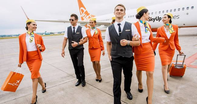 SkyUp's previous uniform. Credit: Facebook/SkyUp Airlines
