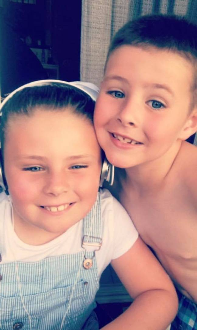 Jase with 10-year-old sister Neive. Credit: Supplied