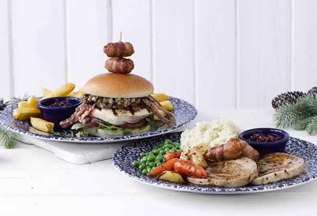 Wetherspoons Christmas menu has a huge pigs in blankets burger which looks amazing. Credit: JD Wetherspoon