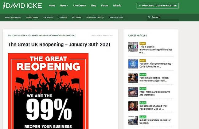 The post on David Icke's website. Credit: David Icke