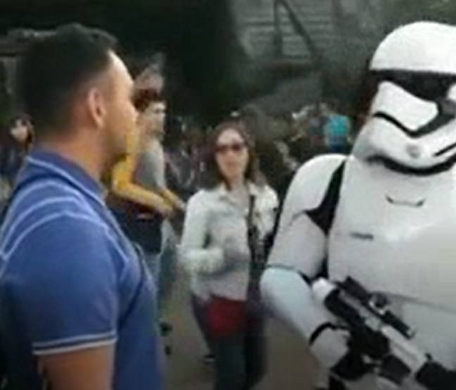 The lightsaber was no match for the mockery of the stormtrooper. Credit: TikTok/@jumpingbean.mp4