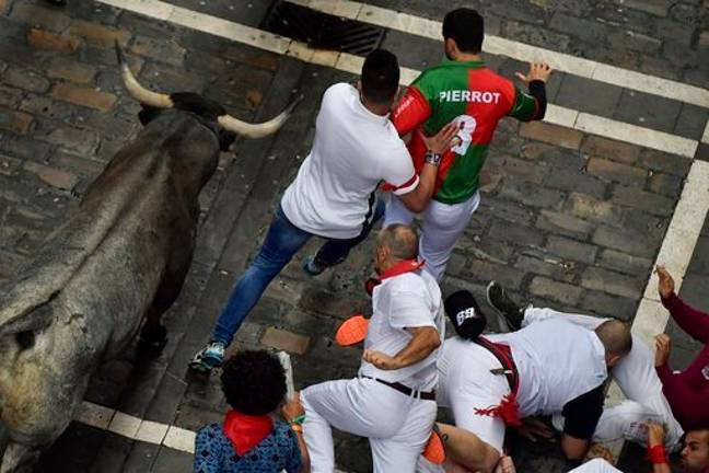 Revellers run next to fighting bulls during the running of the bulls at one of the other festivals. Credit: PA