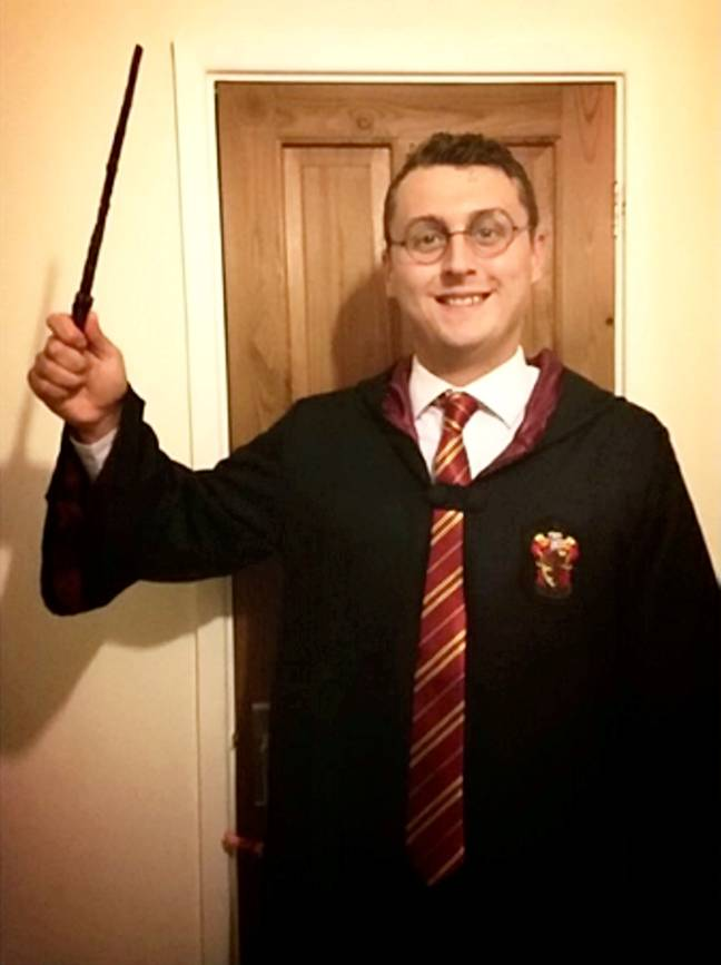 Dressing up as the 'real' Harry Potter. Credit: SWNS