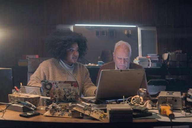 Susan Wokoma as Helen (left) with Malcolm McDowell. Credit: Amazon Prime