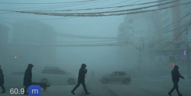 The city is often shrouded in smog from people leaving car engines running. Credit: YouTube/Discover With Cenet