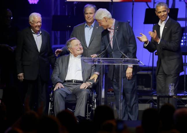 George HW Bush with former Presidents