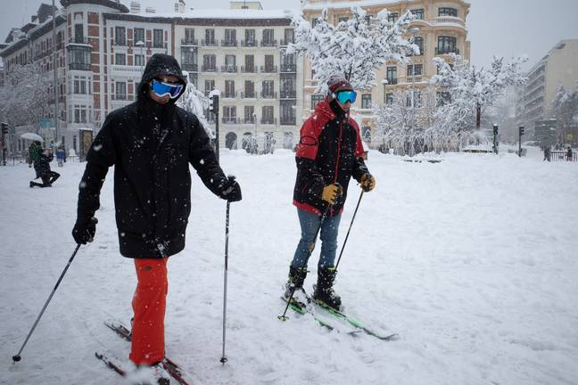Some in Madrid have been using skis to get around. Credit: PA