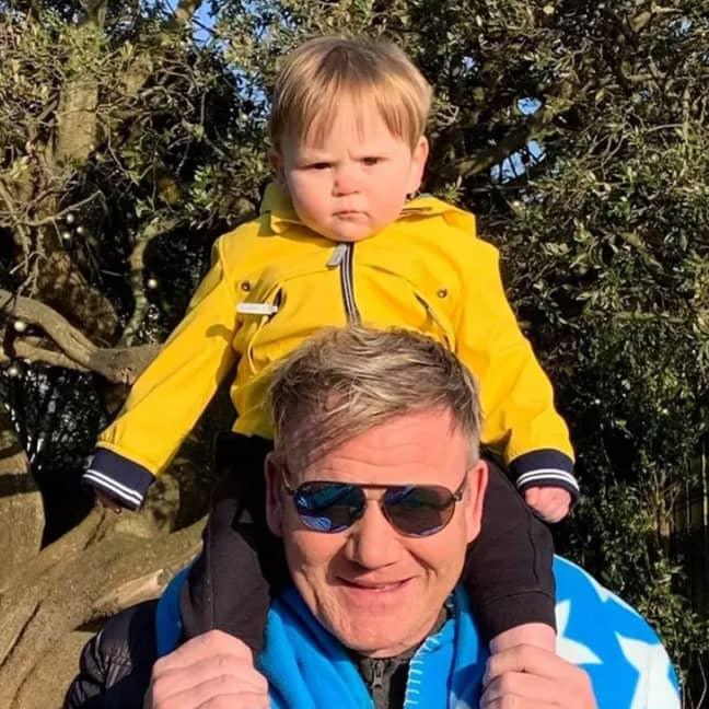 Gordon and baby son Oscar. Credit: Facebook