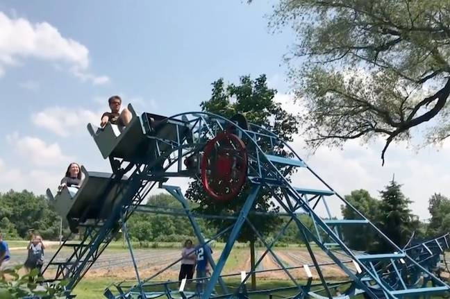 The Ohio Valley Coasters Team visited John Ivers backyard roller coaster. Credit: Caters/StoryTrenders