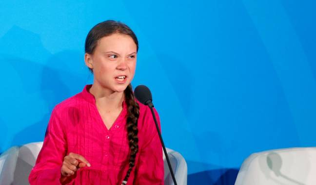 Thunberg at the UN Climate Action Summit this week. Credit: PA