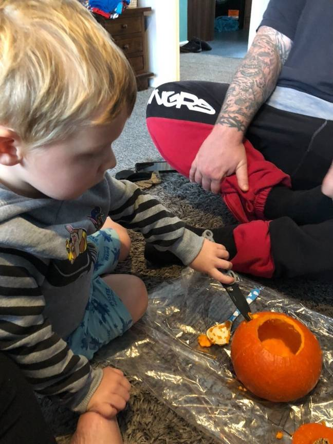 Jax carved his own pumpkin last Halloween. Credit: Florence Taylor/@montessoraus.mama