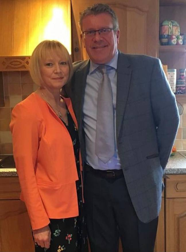 Angela Davies with her husband Martin. Credit: Kennedy News and Media