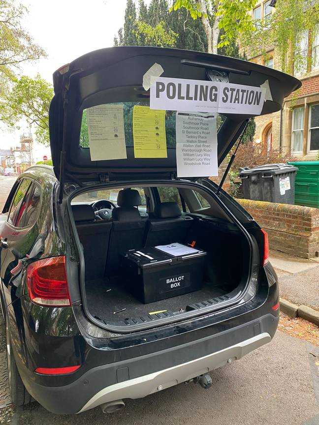 The polling station was briefly set up in a car boot. Credit: Toby Porter
