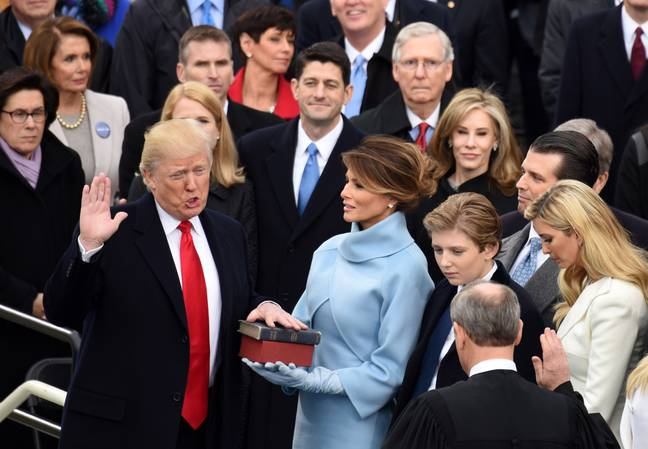 Donald Trump being sworn in 2017. Credit: PA