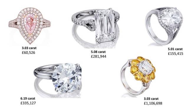 The diamonds that were stolen. Credit: PA