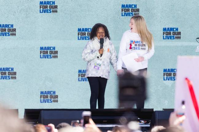 Yolanda Renee King at the March For Our Lives Rally in 2018. Credit: PA