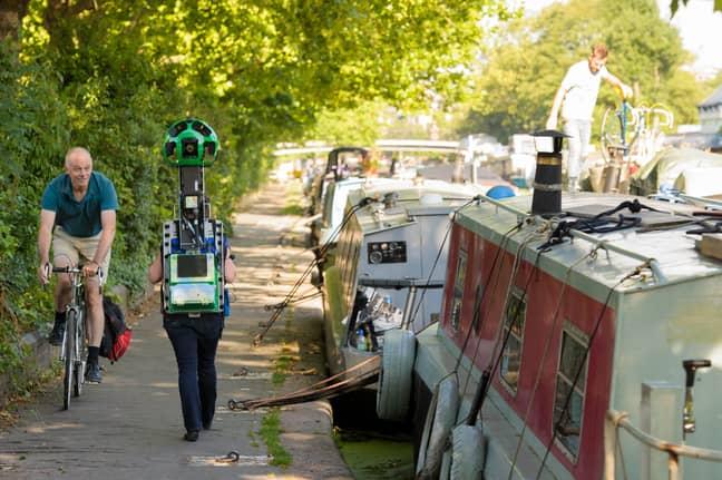 Wendy Hawk from the Canal & River Trust wears the Google Trekker in London (Credit: PA)