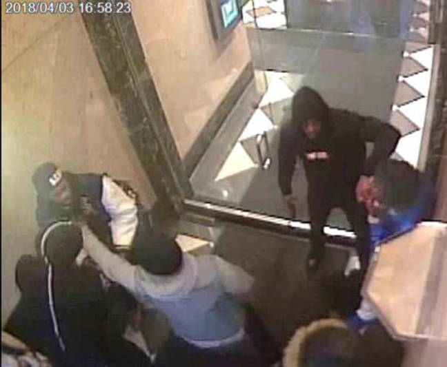 Image from a surveillance video alleging involvement by rapper Tekashi 6ix9ine in several violent incidents. Credit: PA