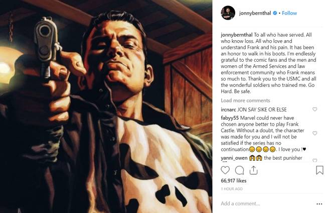 Jon Bernthal shared a cryptic message on Instagram today, which many said sounded like a 'goodbye'. Credit: Instagram