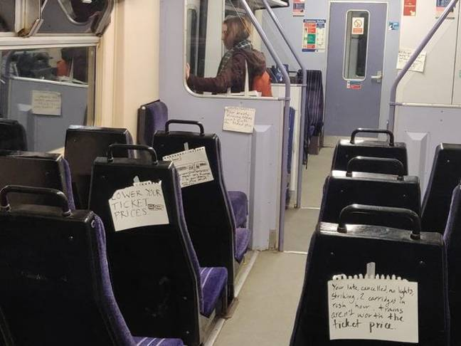 Angry commuters left notes on a Northern Rail train. Credit: Manchester Evening News/Gari Davies