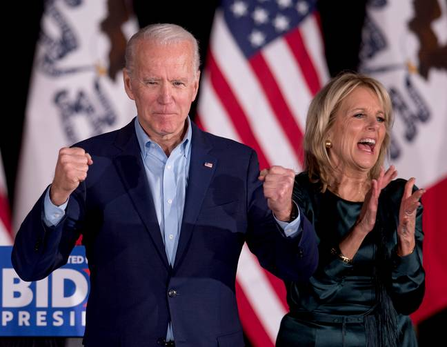 'And in the blue corner...'Jumping' Joe Biden!' Credit: PA