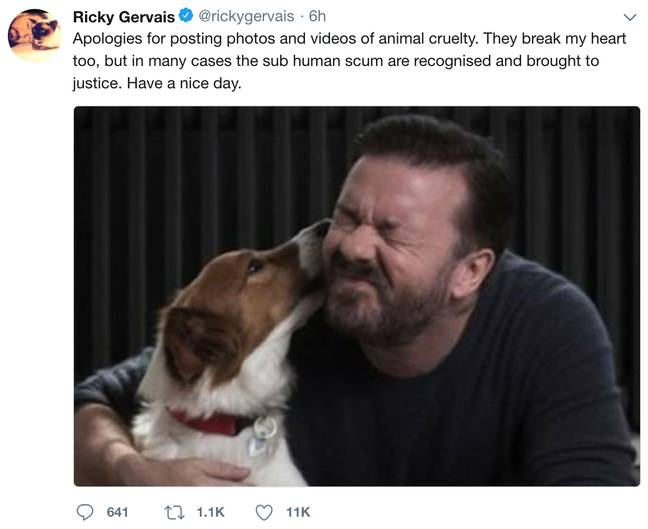 Credit: Ricky Gervais/Twitter