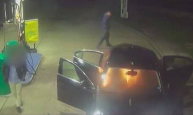 After dousing the backseats of the taxi in petrol Warren Hearne and Danny Frost set it on fire. Credit: Kent Police