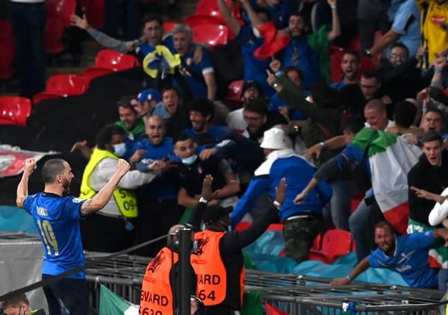 Leonardo Bonucci celebrates Italy's equaliser. Credit: PA