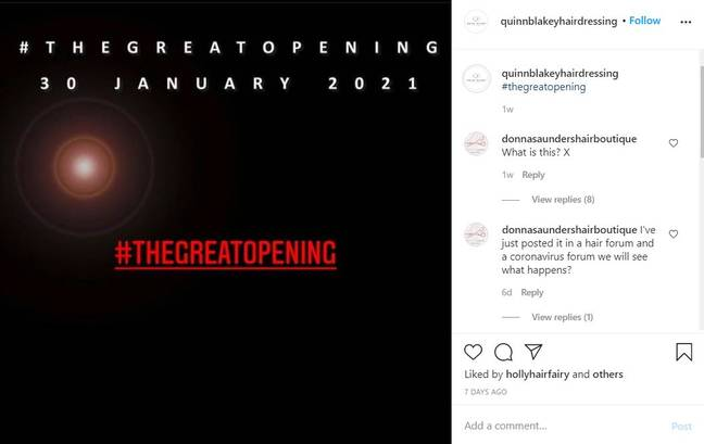 Sinead Quinn plans to reopen her salon on 30 January. Credit: Instagram