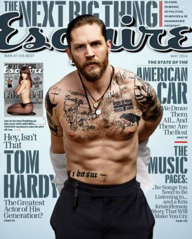 Tom Hardy's tattoos (Photo credit: Esquire)