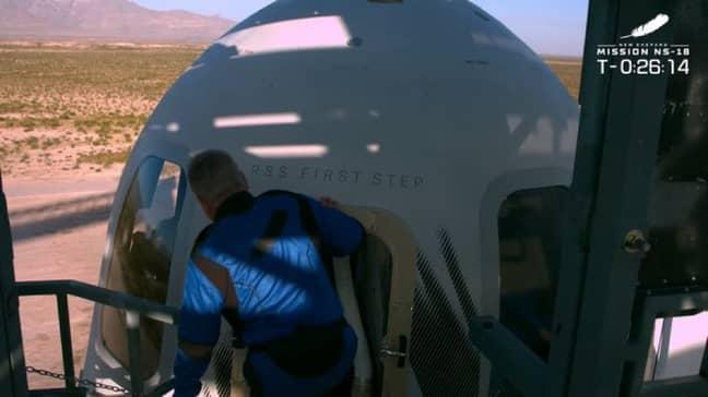 Shatner entering Blue Origin's New Shepard before lift-off. Credit: NBC News/Blue Origin
