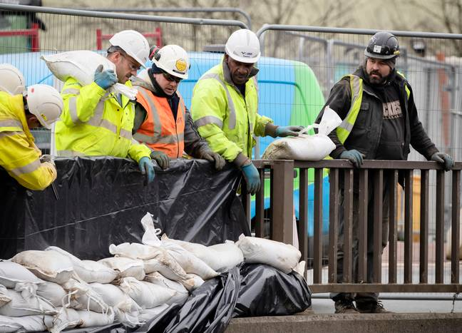 Flood defences are being prepared in Calderdale. Credit: PA