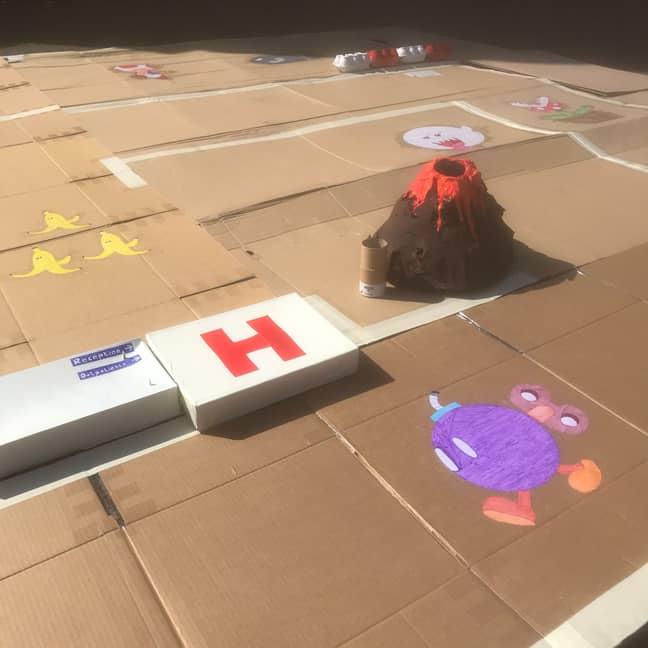 Andrew's partner Rhiannon even created a papier-mâché volcano. Credit: LADbible