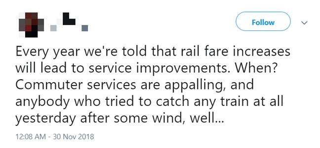 Rail fares are set to rise by 3.1 percent across the UK. Credit: Twitter